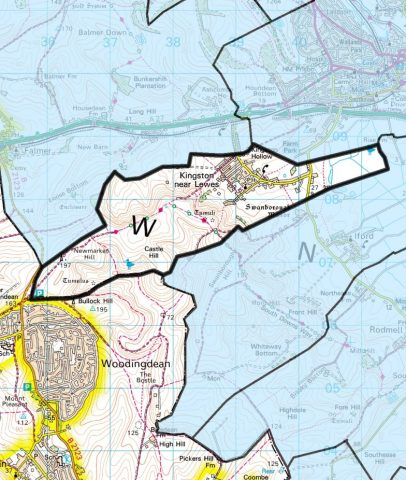 A Map showing the boundary line of Kingston Parish within the Lewes District area