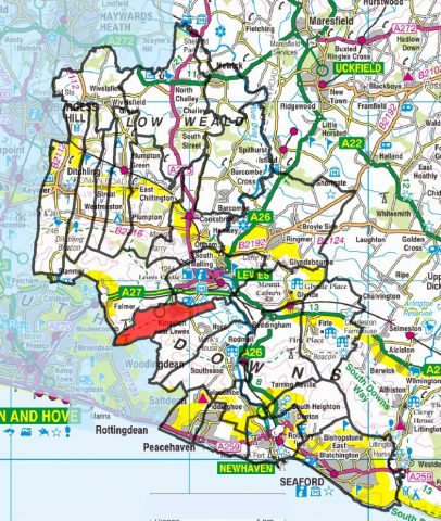 A map outlining the whole of Lewes District Council boundary and where Kingston sits within that